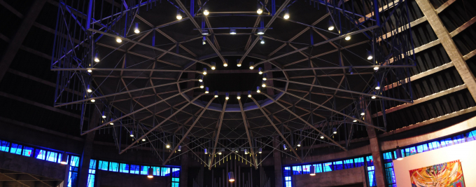 Roof of a cathedral with spotlights around